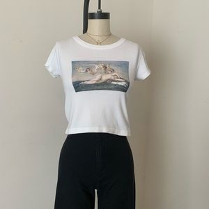 Brandy Melville white birth of Venus crop Ashlyn